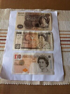 Bank Of England Old 3 ten  £10 Ten Pound Notes