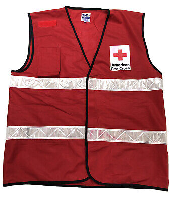 AMERICAN RED CROSS Red DISASTER RELIEF VEST Reflective XL