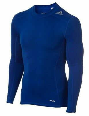 adidas TechFit Base Layer Shirt Men's Compression Top ClimaLite Blue Size Medium