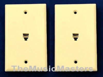 2X Ivory Modular Home Phone WALL PLATE JACK TELEPHONE Line Outlet Cover VWLTW
