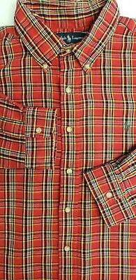 Polo Ralph Lauren Men's XXL Button-Down Flannel Shirt Red Green Plaid  EUC 2XL