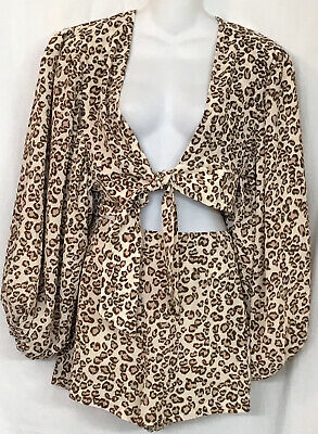 l'academie Shorts And Crop Top Animal Print Balloon Sleeve Tie Front Size S