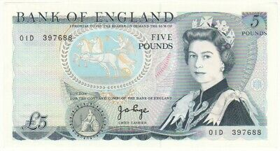 Bank Of England 5 Pounds Signed By Page, Prefix 01D, Choice Uncirculated