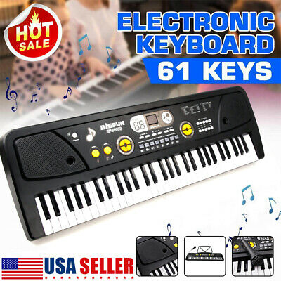 Digital Music Piano Keyboard -Portable Electronic Instrument w Microphone-61 Key