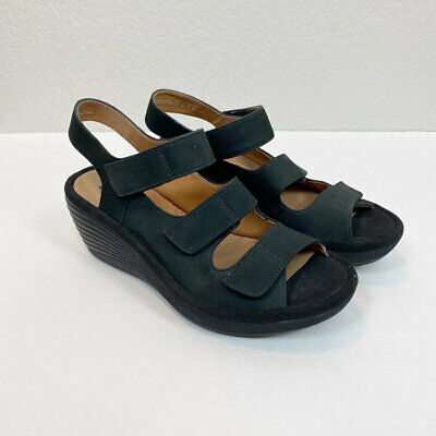 Clarks Reedly Juno Black Wedge Open Toe Sandals Womens size 6