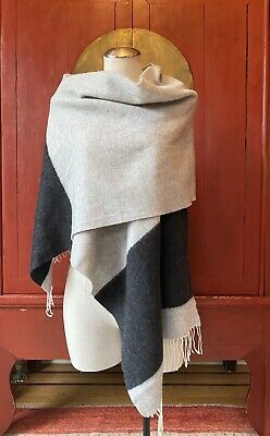 "EILEEN FISHER Wool Blend Scarf, Gray/Charcoal Gray, 18"" wide x 84"" long, O/S"