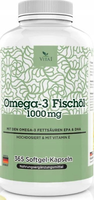 OMEGA-3 Fish Oil EPA DHA Vitamin E 365 capsules 1000mg each