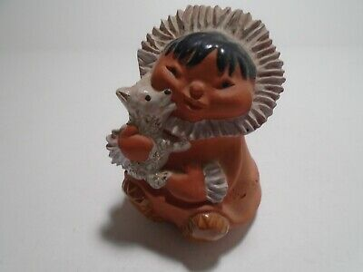 VTG Handmade Cook Inlet Clay Figurine Eskimo with Dog Homer Alaska Inuit Pottery