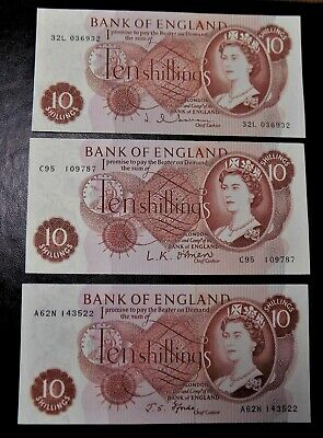 Bank of England 10 shilling notes 3 Three FFORDE. HOLLOM ,O@BRIEN mint condition