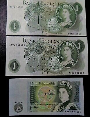 Bank of England £1 notes 3 Three PAGE  clean crisp B320,B322 and B340