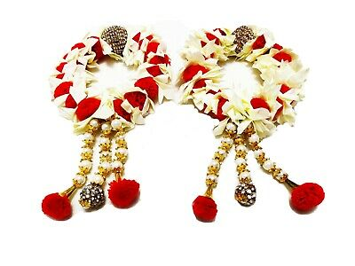 Pair Gajra in white and red colour Indian pakistani hand made  for Mehndi// mayu