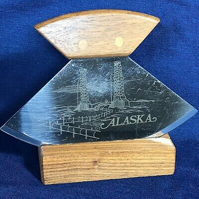 Vintage ULU Knife ALASKA PIPELINE & TOWERS 1981 Walnut & Stainless Steel