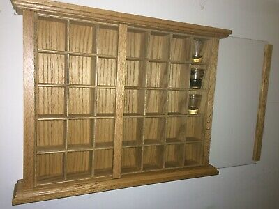 Beautiful Hand Crafted Oak Display Case Shot Glass Holds 35 Shot Glasses