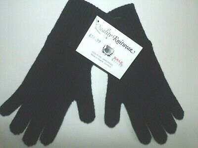 Scottish 100/% 4 ply Lambswool knitted warm soft finger gloves womens Black O.S.