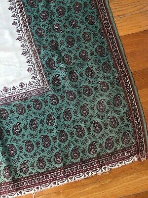 """Antique green-turquoise Kashmir shawl piece - hand loomed  (46"""" x 34"""")"""