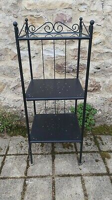 Large 76cm Shabby Chic Metal Glass Shelf Storage Unit 10 Compartments Charcoal