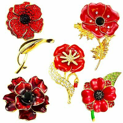 Red Flower Brooch Diamante Vintage Badge Brooches Pins Collection Day UK