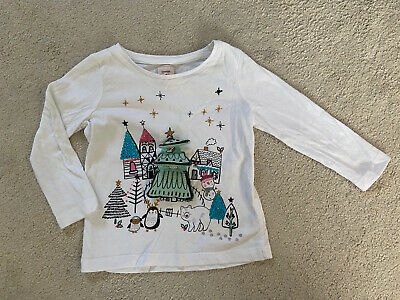 BNWOT Girls Cream Long Sleeve Christmas Tree Print T-Shirt Ages 6 to 24 months