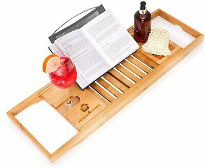 Luxury Bamboo Bath Bridge Tray Caddy with Tablet Holder & Slide-in Glass holder