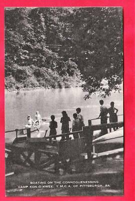 Boating on the Connoquenessing Creek at Camp Kon-O-Kwee Y M C A of Pittsburgh Pennsylvania 1469 Vintage  Postcard