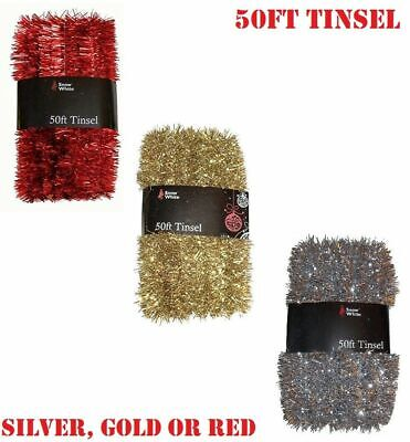 Rocking Party Thick Luxury Silver Holographic Foil Sparkling Christmas Tree Tinsel Decoration 2 Meters