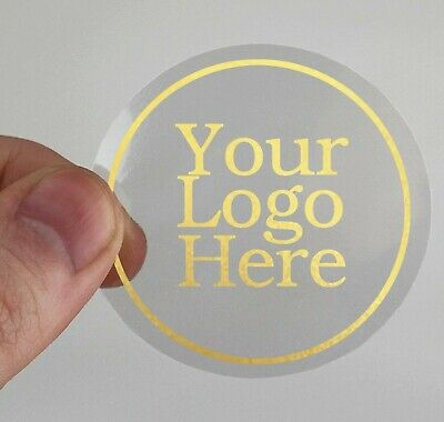 CUSTOM MADE LABELS #037 45MM GOLD ON CLEAR PERSONALISED STICKERS YOUR MESSAGE