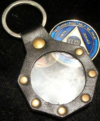 Alcoholics Anonymous AA Chip Keyring Silver and Black Keychain with Carabiner