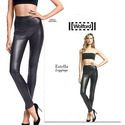 Pure Luxury WOLFORD Estella Faux Leather Skirt MSRP$325 Washable in Office Grey