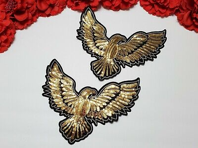 Iron on patches 2pc//set Eagle patches Patches for jackets Sequin patches