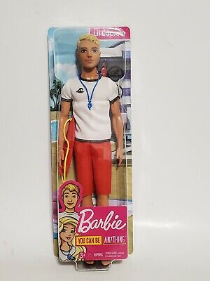 Red Whistle and Blonde Hair Wearing T-Shirt Ken Lifeguard Doll with Life Buoy
