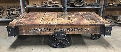 Industrial Lineberry  Cart Coffee Table Factory