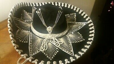 Belri Mexican Hat Unworn Black With White Embroidery, Purchased In Cancun.