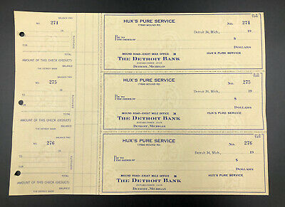1960's Hux's PURE Service Station OIL Gas Detroit  UNUSED 3 checks Indian image