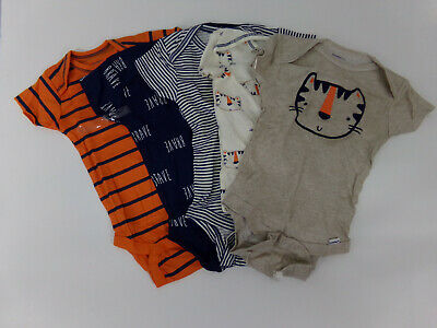 Gerber Infant Baby Boys Body Suites 5 PK Animal Print 6-9 Month NWT