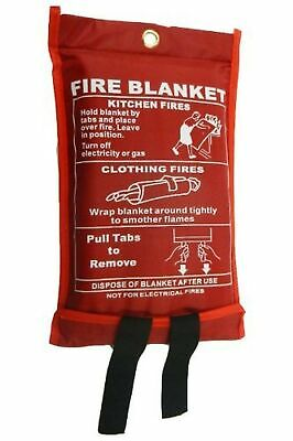 Fire Blanket Large - Quick Unfolding & Easy to Use with Loops 1m x 1m IDEAL F...