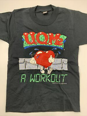 Vintage U.O.Me A Workout 1990 T-Shirt Youth Size 14-16 Heart Exercise Health