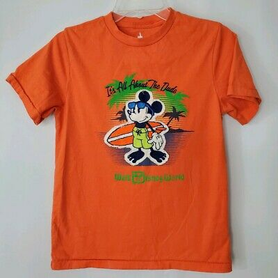 Disney Parks Kids T Shirt L Surf Mickey Its All About The Dude Walt Disney World