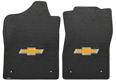 Silverado 2500/3500 2 PC Front Ebony Velourtex Mats Gold Bowtie Logo (2014-ON)
