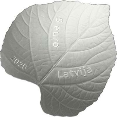 ecology NEW 2020 Latvia silver coin  5 EURO linden leaf HEALTH proof