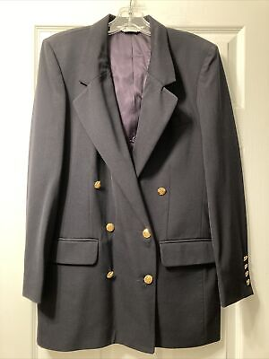 Austin Reed Women S Size 8 Vintage Navy Blue Wool Blazer Gold Buttons 24 99 Picclick