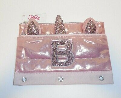 Details about  /Justice Girls Quilted Rose Gold Pencil Pouch Bag Initial A Unicorn