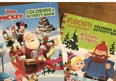 Disney Mickey and Rudolph Christmas Coloring Books (2 books)
