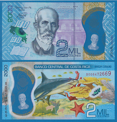 Costa Rica 2000 Colones P New 2020 2018 Polymer UNC 2 MIL 2,000 Low Shipping!