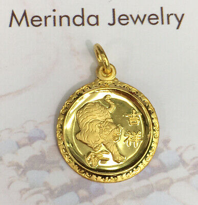 Zodiac 24K Solid Yellow Gold Animal Sign Round Tiger Charm// Pendant 2.46 Grams
