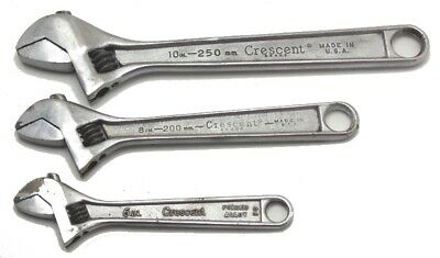 """3 Piece Vintage Crescent Adjustable Wrench Set 6"""" 8"""" 10"""" Made in USA Used"""