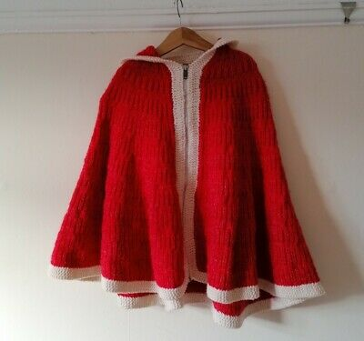 Vintage kids pink red 70s Christmas hand knitted hooded cape poncho & muff 5-7y