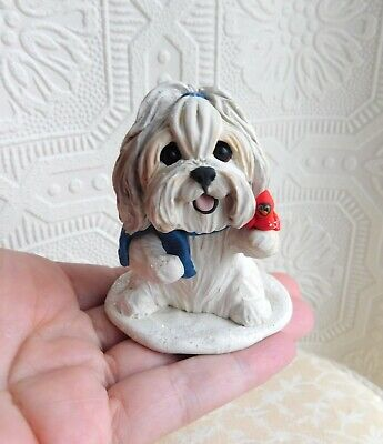 Havanese with Cardinal Sculpture Furever Clay by Raquel