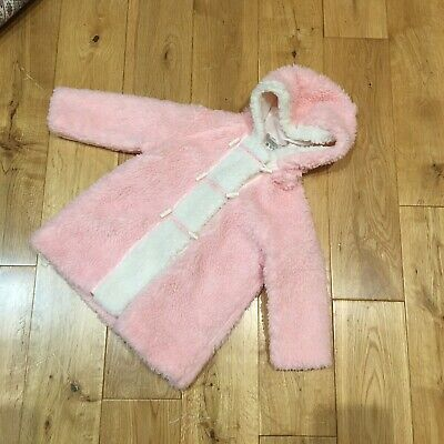 Vintage Boots Fluffy Furry Pink Hooded Toggle Button Coat 12-18 Mths