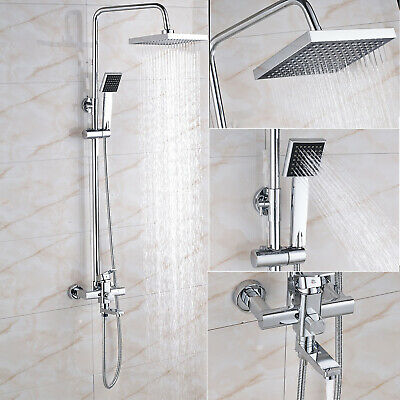 Wall Mount 9 inch Round Rainfall Shower Faucet Set Hand Sprayer Chrome Tub Tap