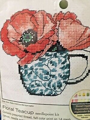 Rare Vintage 1981 Dimensions EVENING GARDEN Poppies BUTTERFLY Moon Wool Yarn